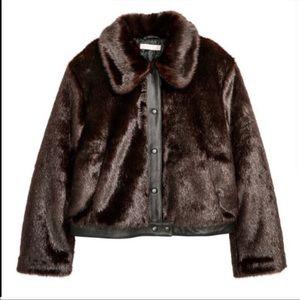 H&M Faux Mink Fur Snap-Up Bomber Jacket | 12 EUC